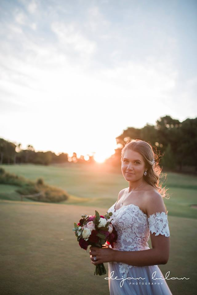 Bride with sunset